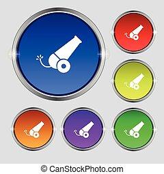 canhão, ícone, sinal., redondo, símbolo, ligado, luminoso, colorido, buttons., vetorial