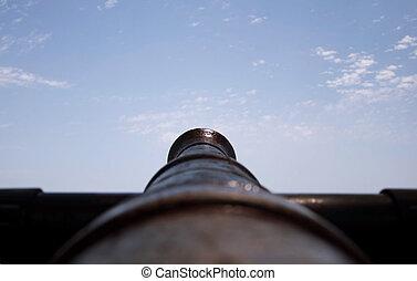 canhão, apontar, a, céu