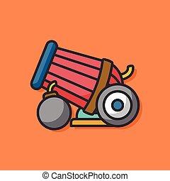 canhão, arma, vetorial, ícone