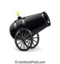 canhão, branca, vetorial, isolado