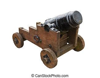 canhão, isolado, seige, fundo, branca, stumpy