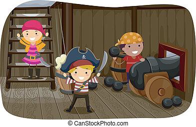 canhão, pirata