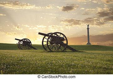 canhões, em, antietam, (sharpsburg), campo batalha, em,...