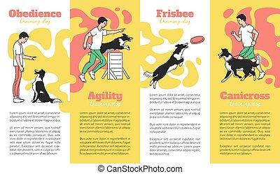cani, o, illustration., set, cartelle, schizzo, addestramento, campo di gioco, vettore, scuola