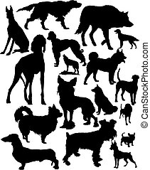canids, vector, set