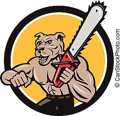 Canine Lumberjack Tree Surgeon Arborist Chainsaw Circle -...