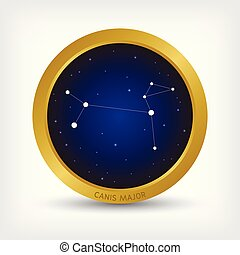Canis Major constellation in golden circle, group of star in galaxy, vector illustration