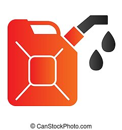 Canister flat icon. Can with drop of fuel. Oil industry vector design concept, gradient style pictogram on white background.