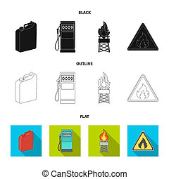 Canister for gasoline, gas station, tower, warning sign. Oil set collection icons in black, flat, outline style bitmap symbol stock illustration web.