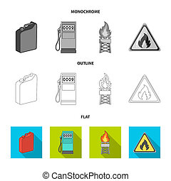 Canister for gasoline, gas station, tower, warning sign. Oil set collection icons in flat, outline, monochrome style bitmap symbol stock illustration web.