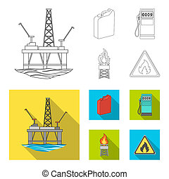 Canister for gasoline, gas station, tower, warning sign. Oil set collection icons in outline, flat style bitmap symbol stock illustration web.