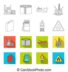 Canister for gasoline, gas station, tower, warning sign. Oil set collection icons in outline, flet style bitmap symbol stock illustration web.