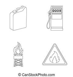 Canister for gasoline, gas station, tower, warning sign. Oil set collection icons in outline style raster, bitmap symbol stock illustration web.