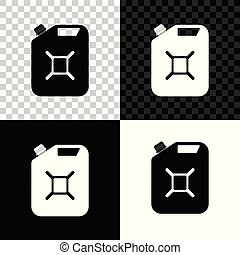 Canister for gasoline icon isolated on black, white and transparent background. Diesel gas icon. Vector Illustration