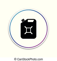 Canister for gasoline icon isolated on white background. Diesel gas icon. Circle white button. Vector Illustration