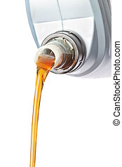 Canister of industrial oil flowing. On a white background.
