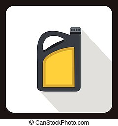 Canister of motor oil icon, flat style