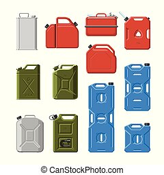 Canister vector jerrican or can of fuel gasoline for automobile and plastic jerrycan with petrol or oil illustration set of cannikin isolated on white background