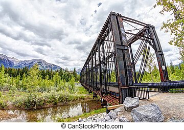Canmore Engine Bridge Over Bow River Trail in the Canadian Rockies