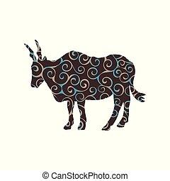 canna, antílope, silueta, cor, padrão, espiral, animal, mamífero