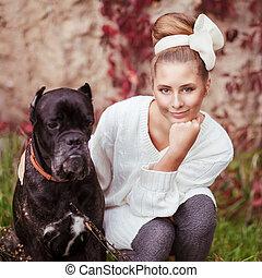 canna, grande, giovane, abbracciare, cane, corso, ritratto, ragazza