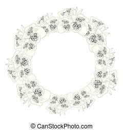 Canna lily Outline Wreath
