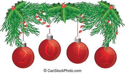 canna, ornamenti, ghirlanda, foglie, albero, isolato, caramella, illustrazione, fondo, 2014, agrifoglio, bianco, bacche, natale