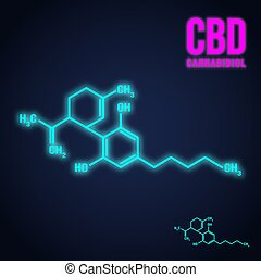 Cannabidiol formula neon icon - Cannabis icon. Cannabidiol...