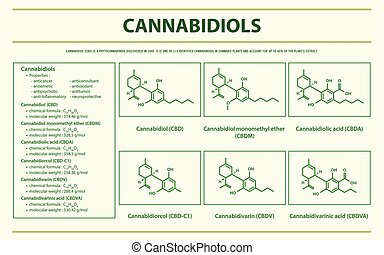 Cannabidiol with Structural Formulas horizontal infographic...