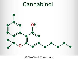 Cannabinol, CBN molecule. Weak psychoactive cannabinoid, is ...