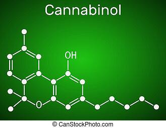 Cannabinol, CBN molecule. Weak psychoactive cannabinoid, is a metabolite of tetrahydrocannabinol. Structural chemical formula