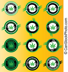 cannabis, ícones, folha, verde, marijuana