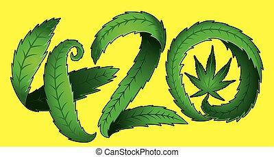 cannabis, 420, desenho, marijuana, texto