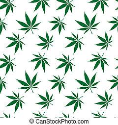 cannabis, ausgedehnt, seamless, muster