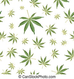 Cannabis Background. Marijuana Ganja Weed Hemp Leafs Seamless Vector Pattern.