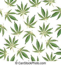 Cannabis Background. Vector Marijuana Seamless Pattern -...