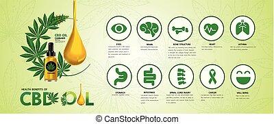 Cannabis benefits for health vector illustration.