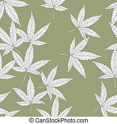 cannabis, blätter, seamless, pattern.