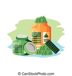 cannabis bottle product with pomade vector illustration ...