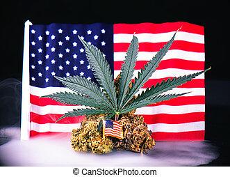 cannabis, brote, hoja, y, bandera estadounidense, con, humo,...