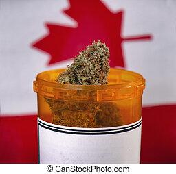 Cannabis bud against canadian flag