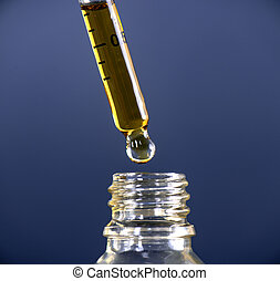 Macro detail of a dropper with Cannabis CBD Oil used for medical purposed