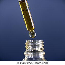 Cannabis CBD Oil extracted from the marijuana plant - Macro...