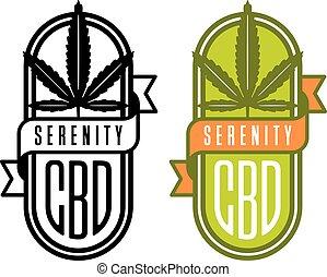 Cannabis CBD vector logo or badge. - Cannabis leaf design ...