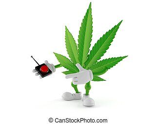 Cannabis character pushing button on white background