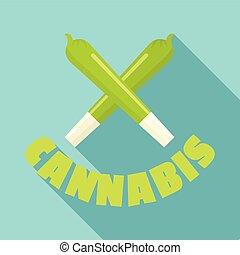 Cannabis cigar logo, flat style