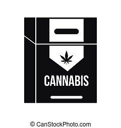 Cannabis cigarette box icon, black simple style