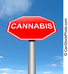Cannabis concept. - Illustration depicting a sign with a...