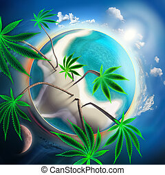 Cannabis conceptual idyllic planet with sunny beach and tall trees