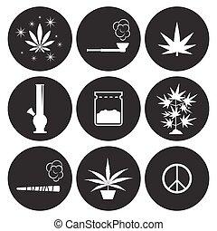 cannabis, conjunto, iconos